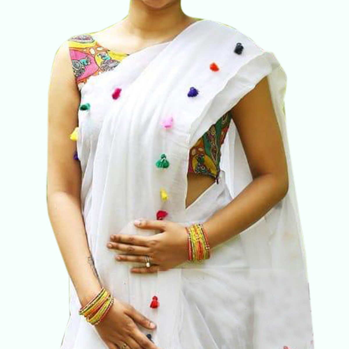 Staring White Colored Partywear Modal Saree