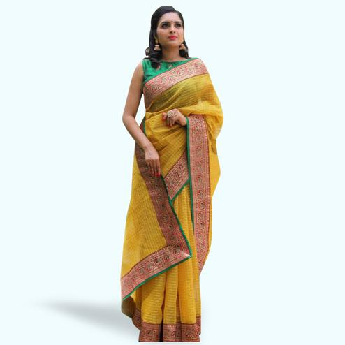 Dazzling Yellow Colored Festive Wear Cotton Saree