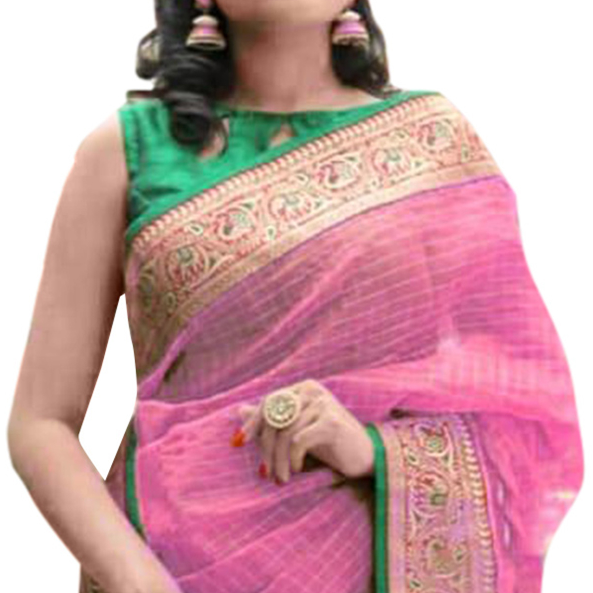 Surpassing Pink Colored Festive Wear Cotton Saree