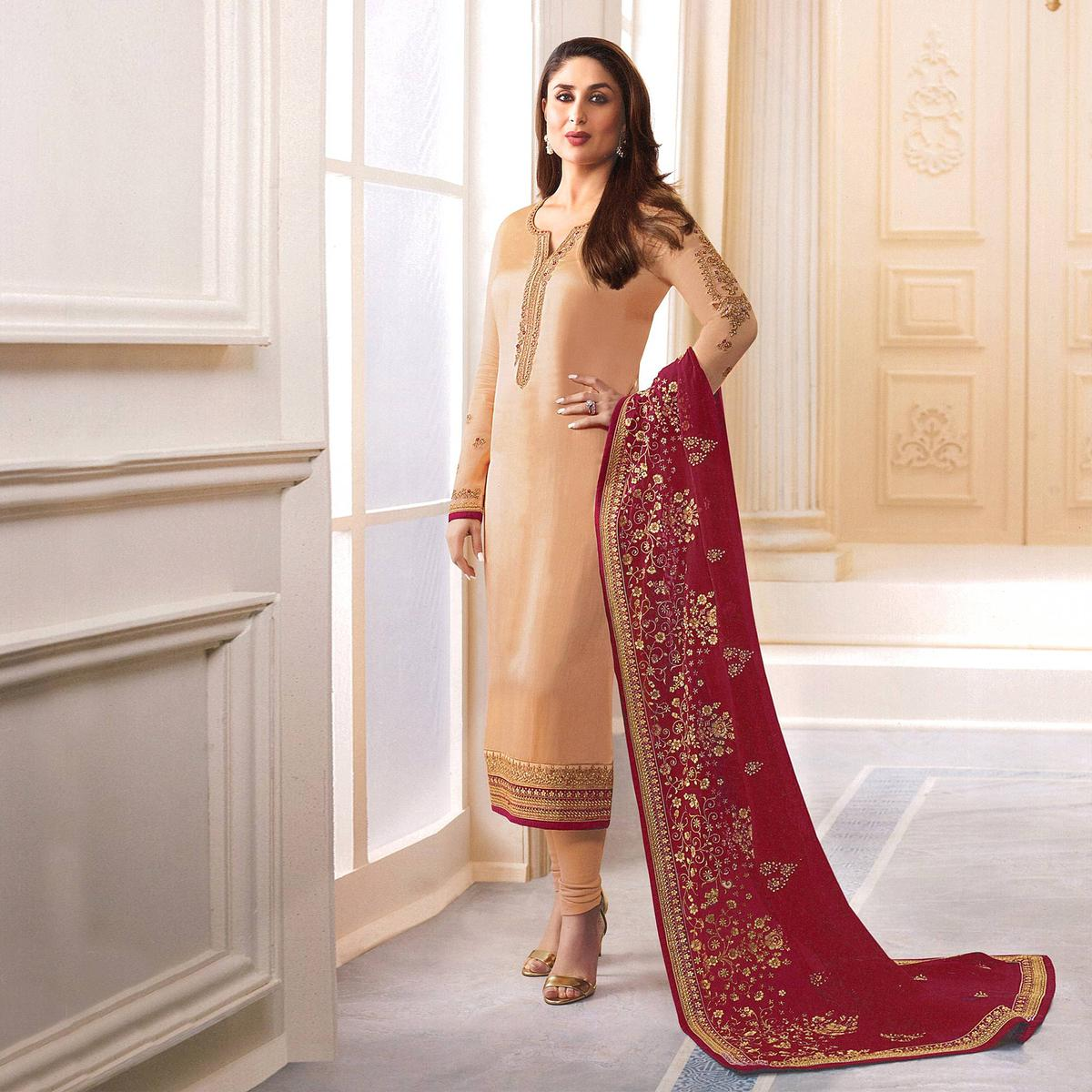 Beige Designer Embroidered Faux Georgette Straight Suit