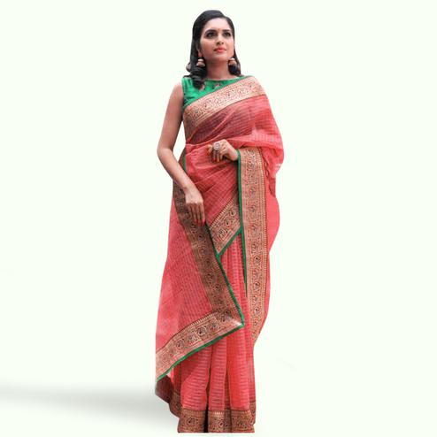 Flamboyant Red Colored Festive Wear Cotton Saree