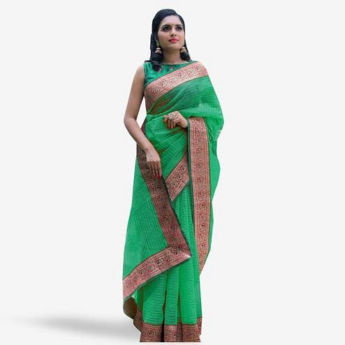 Alluring Green Colored Festive Wear Cotton Saree
