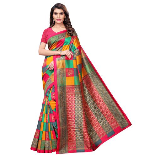 Unique Pink - Multi Colored Casual Wear Printed Art Silk Saree