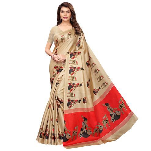 Elegant Beige Colored Casual Wear Printed Art Silk Saree