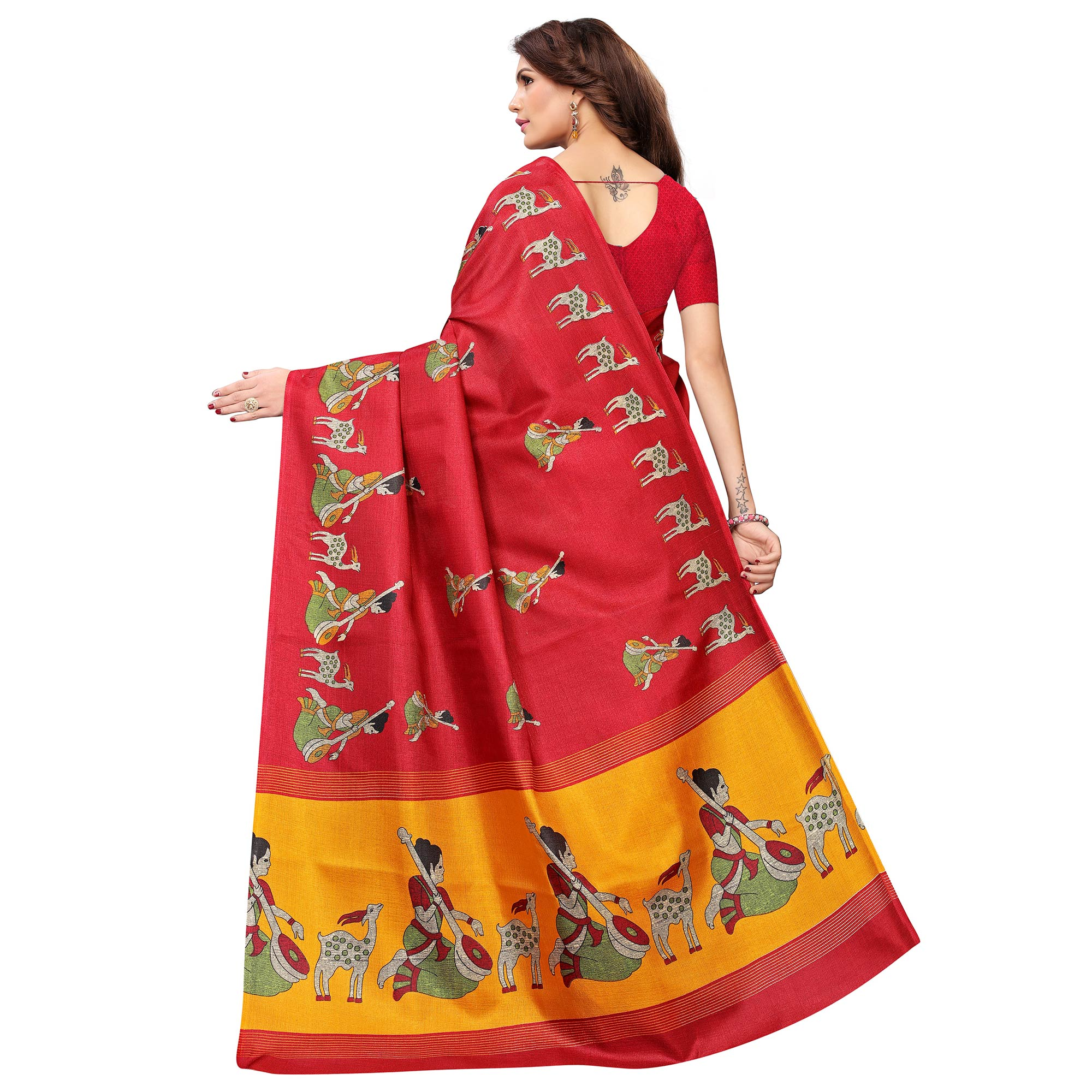 Radiant Red Colored Casual Wear Printed Art Silk Saree