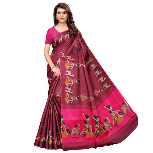 Pleasant Maroon Colored Casual Wear Printed Art Silk Saree