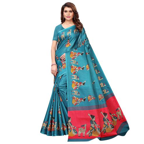 Opulent Sky Blue Colored Casual Wear Printed Art Silk Saree