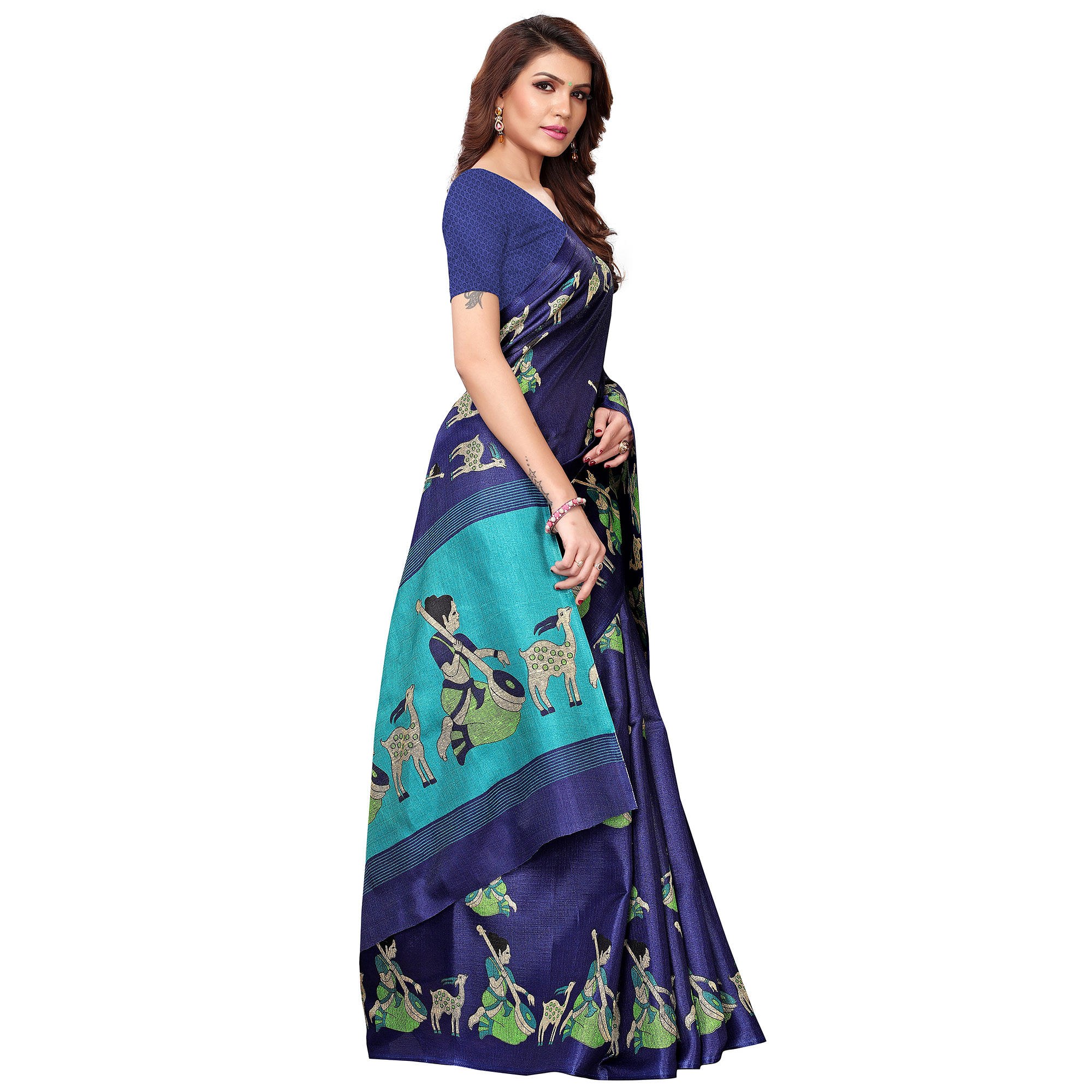 Energetic Navy Blue Colored Casual Wear Printed Art Silk Saree