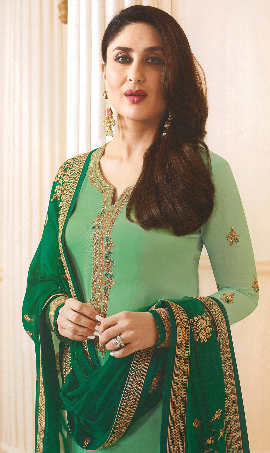 Green Designer Embroidered Faux Georgette Straight Suit