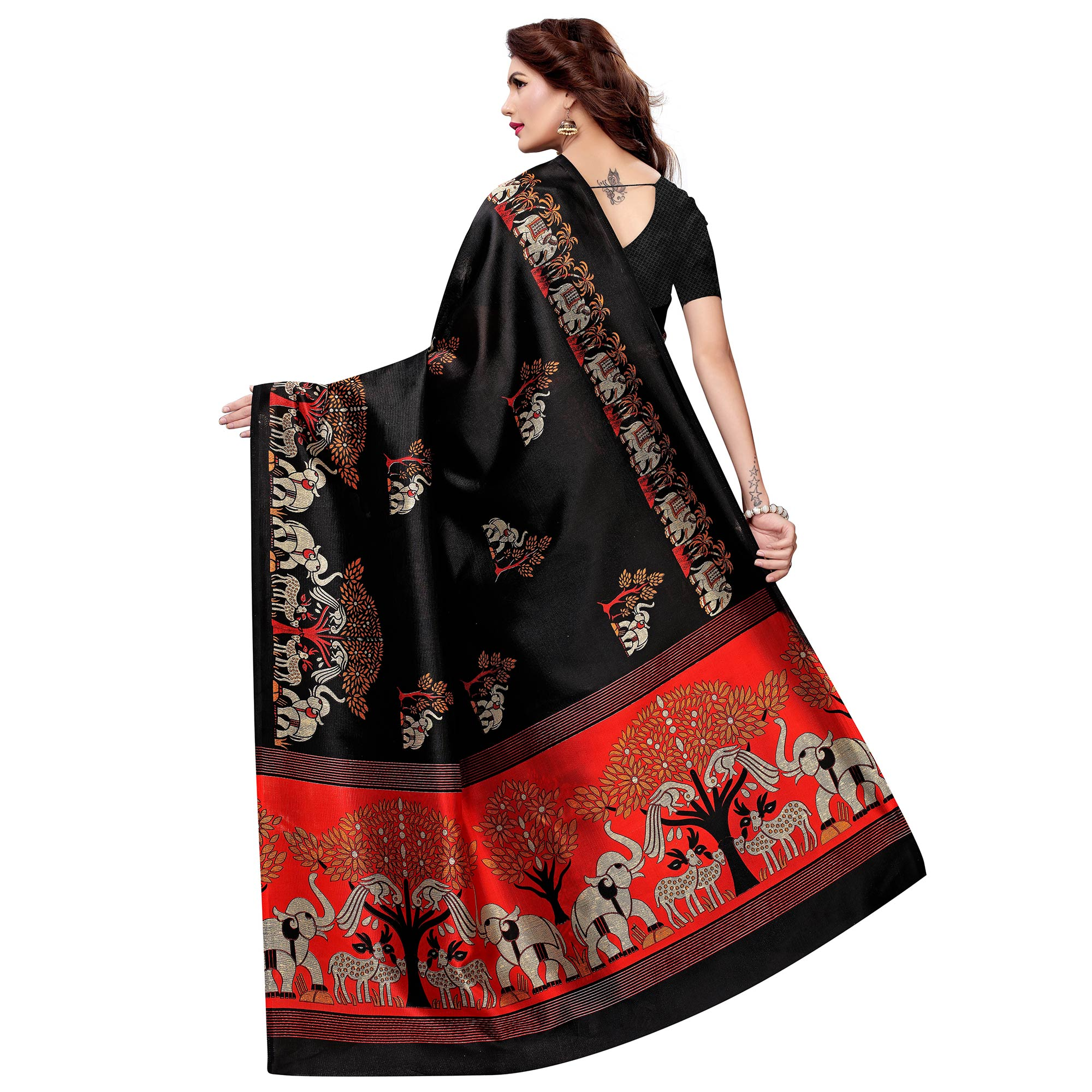 Exceptional Black Colored Casual Wear Printed Art Silk Saree