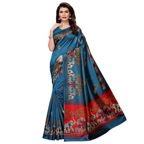 Mesmeric Rama Blue Colored Casual Wear Printed Art Silk Saree