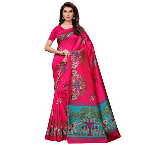 Unique Deep Pink Colored Casual Wear Printed Art Silk Saree