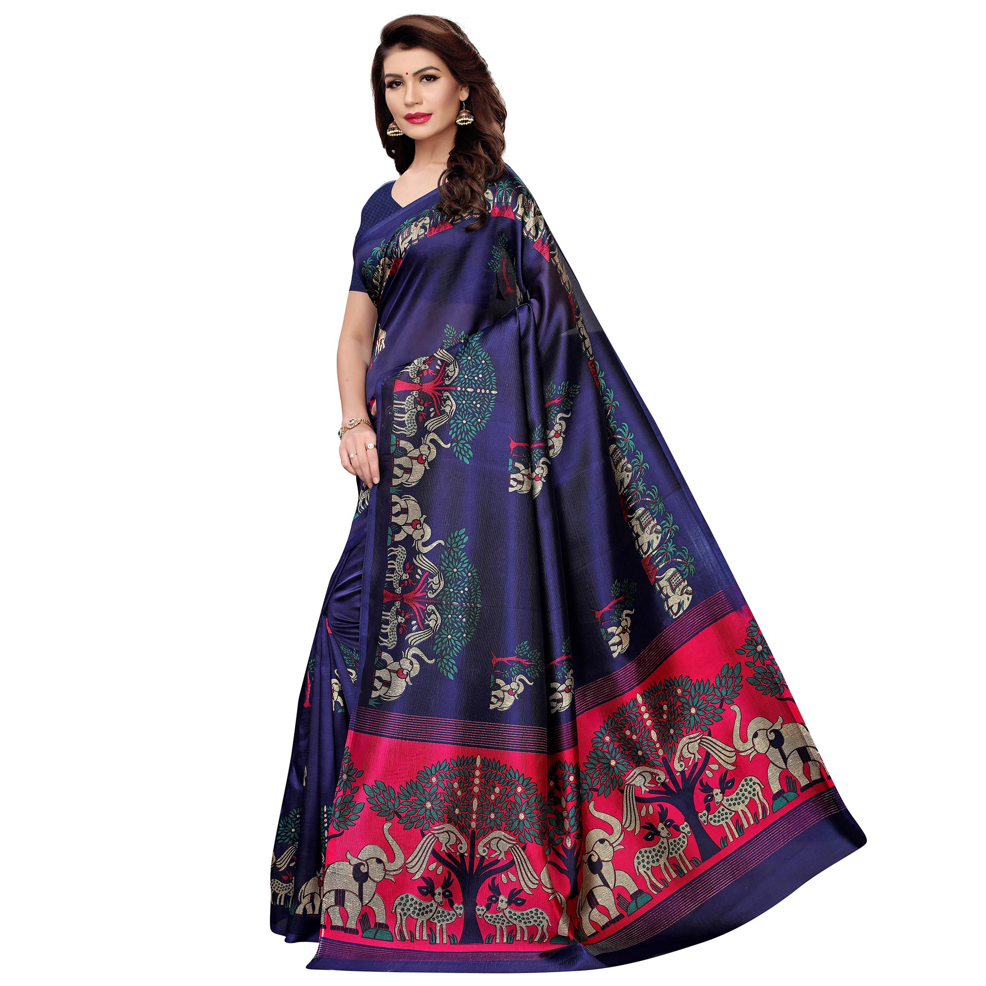 Demanding Blue Colored Casual Wear Printed Art Silk Saree