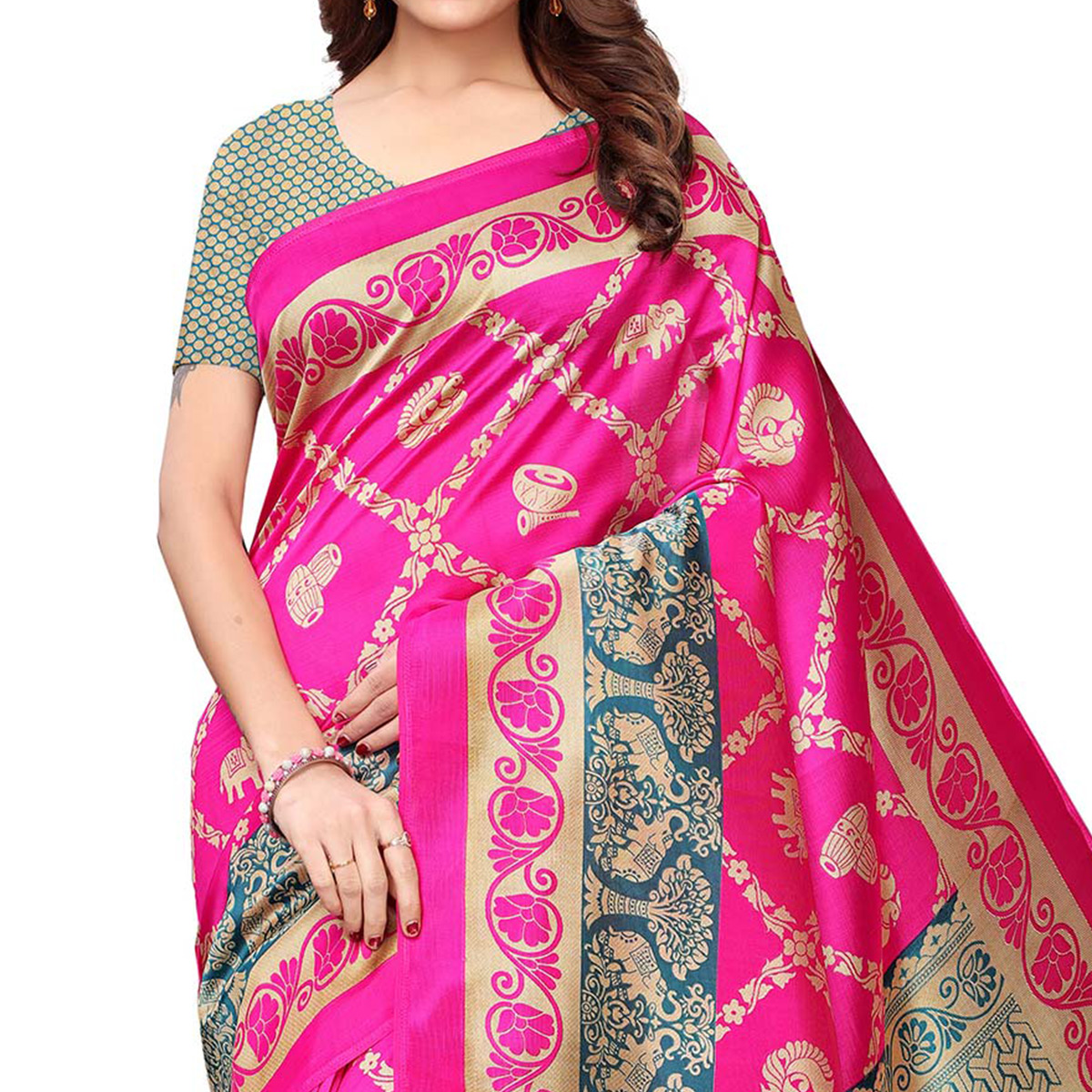Magnetic Pink Colored Casual Wear Printed Art Silk Saree