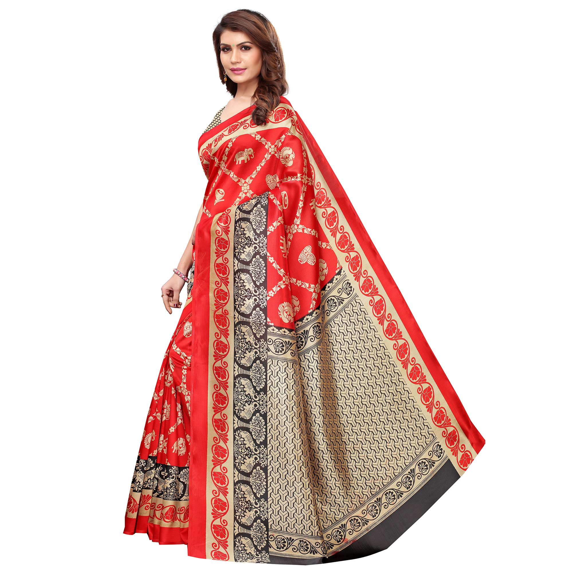 Excellent Red Colored Casual Wear Printed Art Silk Saree