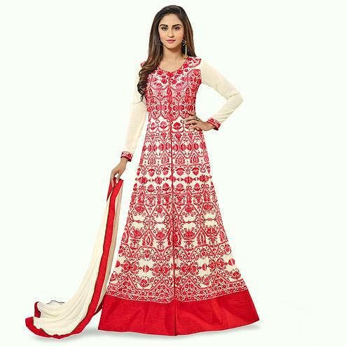 Flattering Cream - Red Colored Party Wear Embroidered Georgette Lehenga Kameez