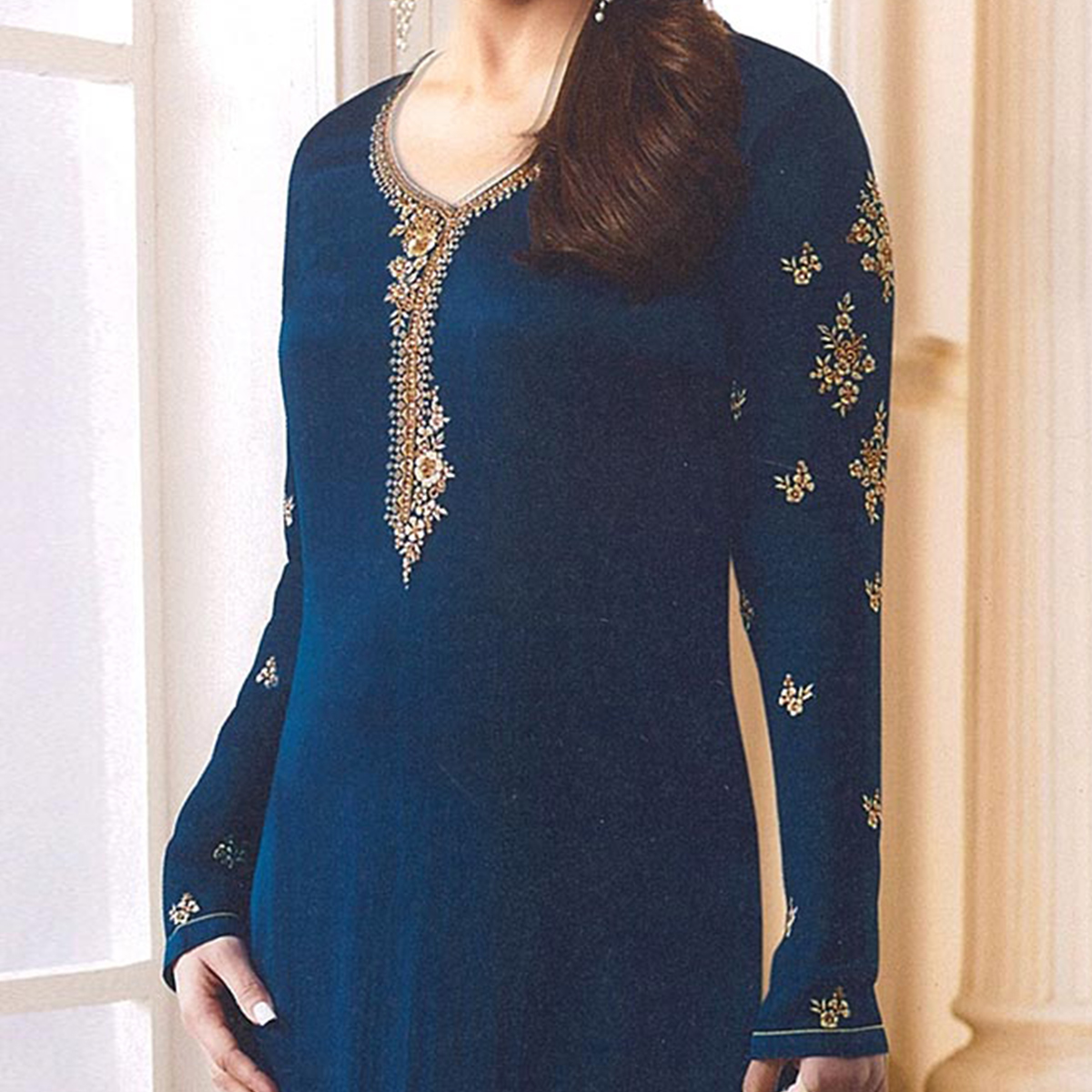 Blue Designer Embroidered Faux Georgette Straight Suit