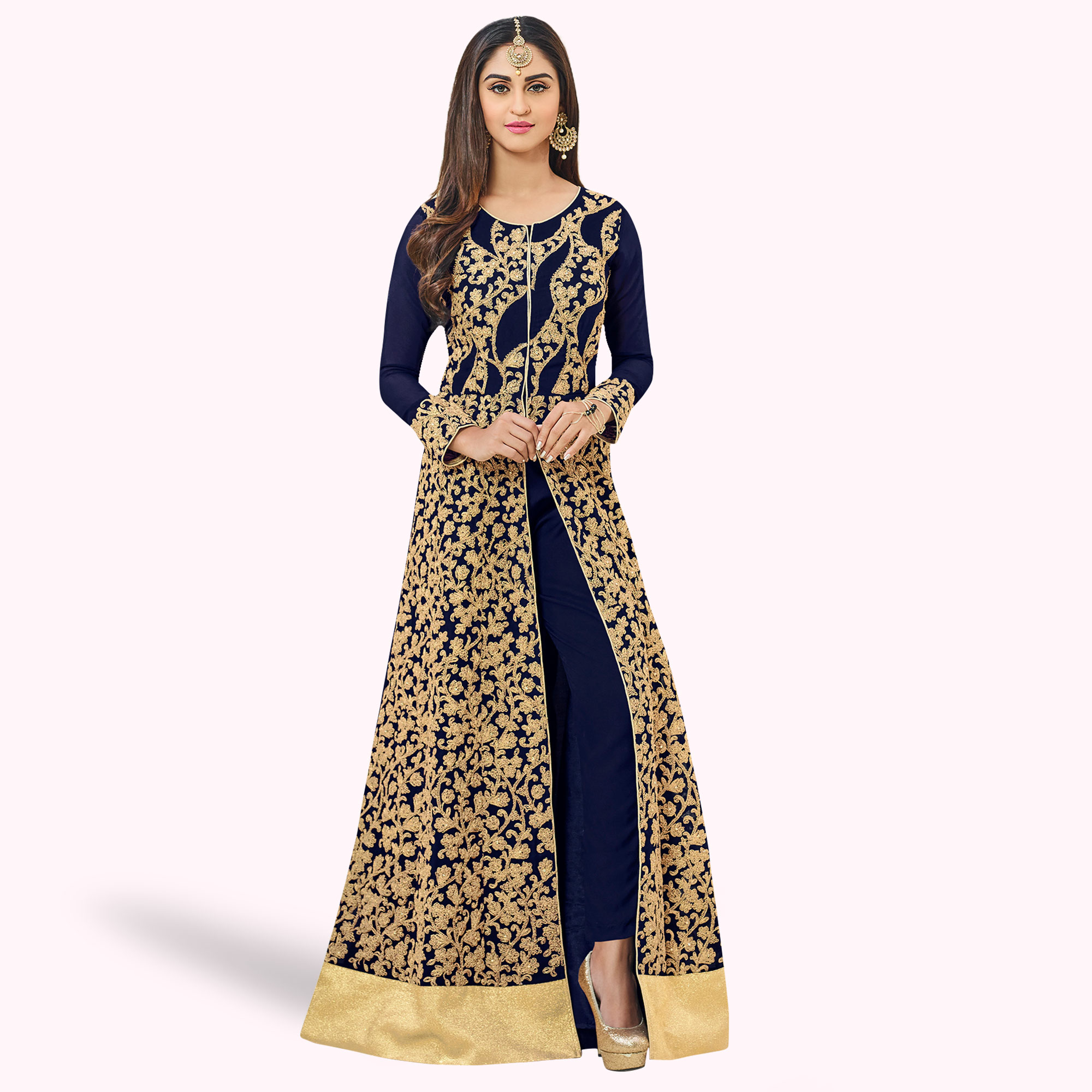Excellent Navy Blue Colored Party Wear Embroidered Georgette Anarkali Suit
