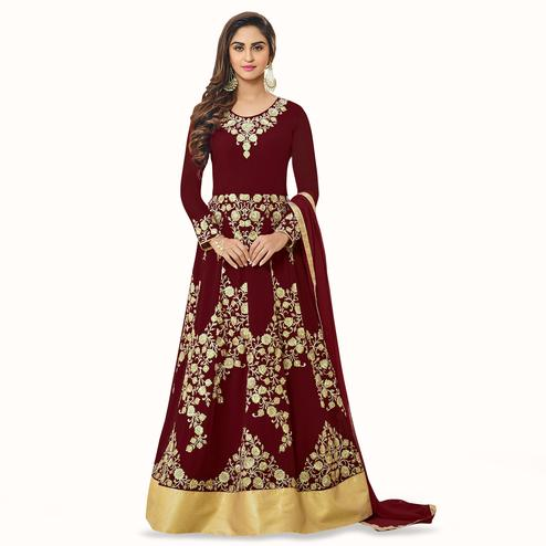 Preferable Maroon Colored Party Wear Embroidered Georgette Anarkali Suit