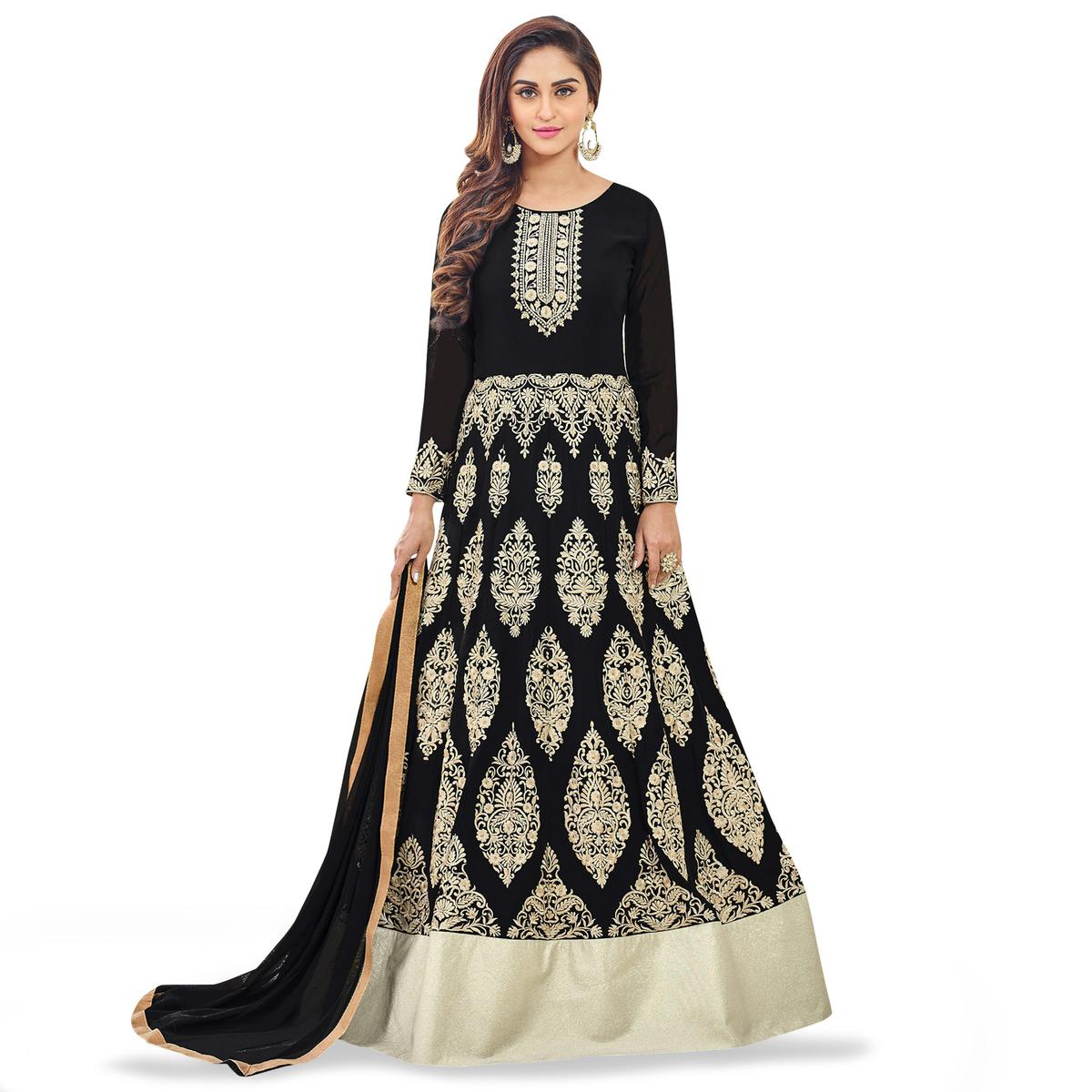 61fb5d8df93f Buy Marvellous Black Colored Party Wear Embroidered Georgette Anarkali Suit  online India, Best Prices, Reviews - Peachmode