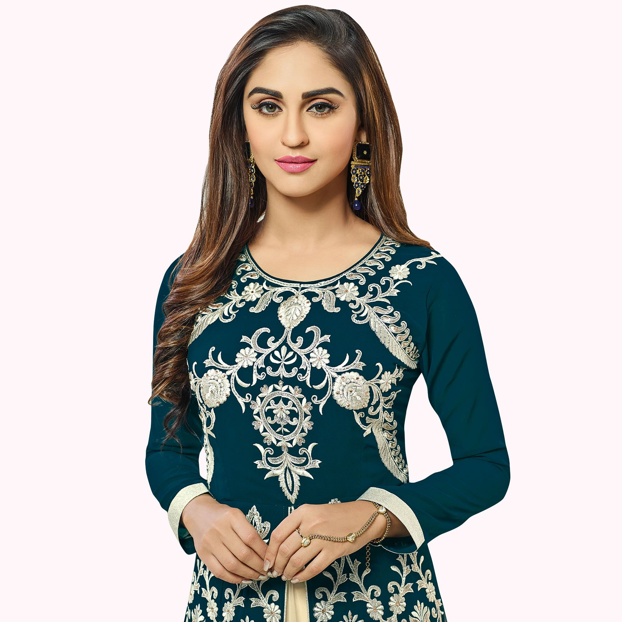 Pretty Teal Blue Colored Party Wear Embroidered Georgette Lehenga Kameez