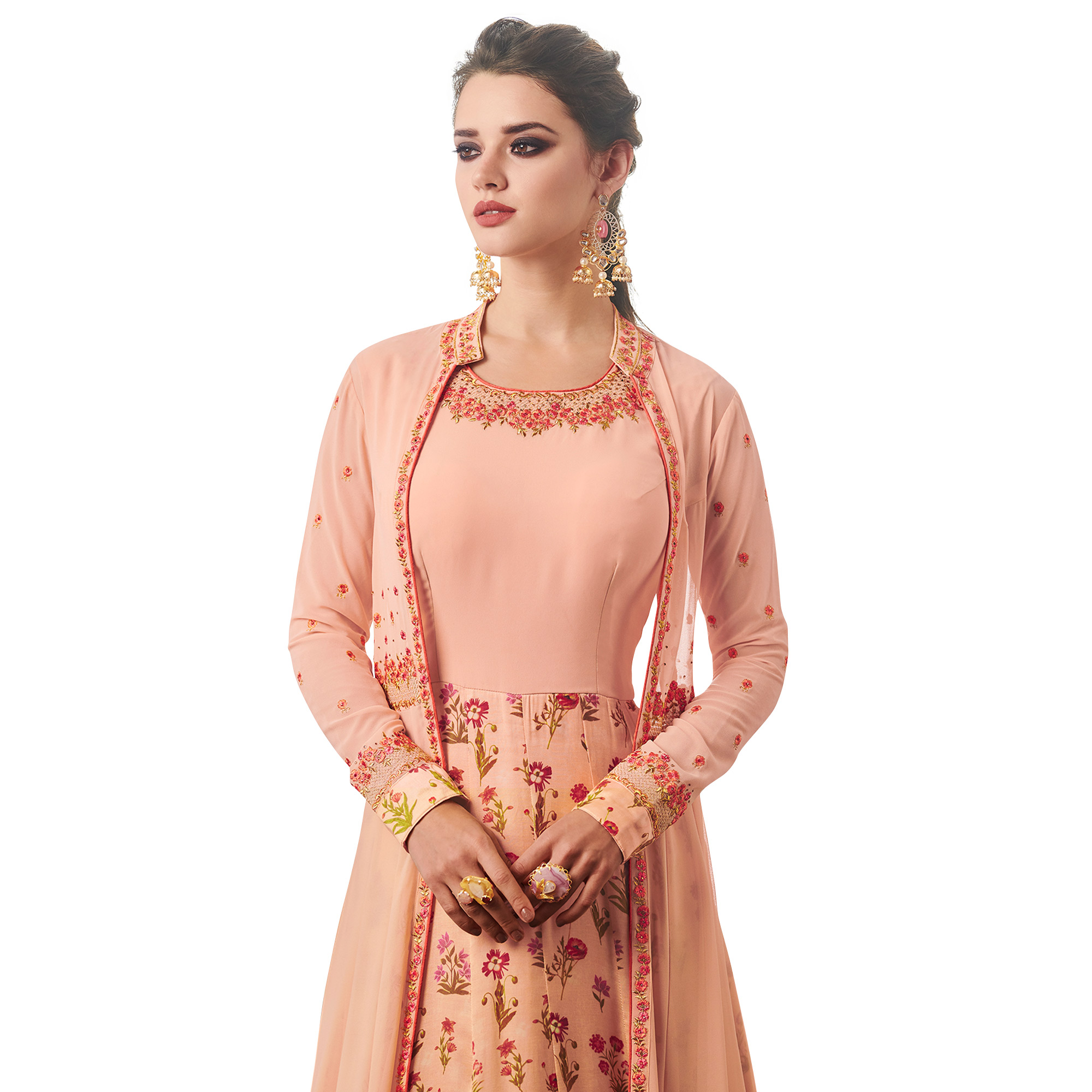 Hypnotic Peach Colored Partywear Embroidered Jacket Style Georgette Anarkali Suit