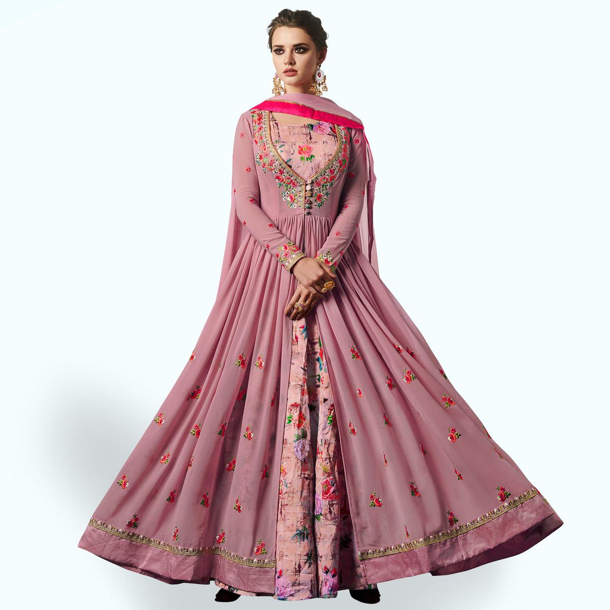 Flattering Rose Pink Colored Partywear Embroidered Jacket Style Georgette Anarkali Suit