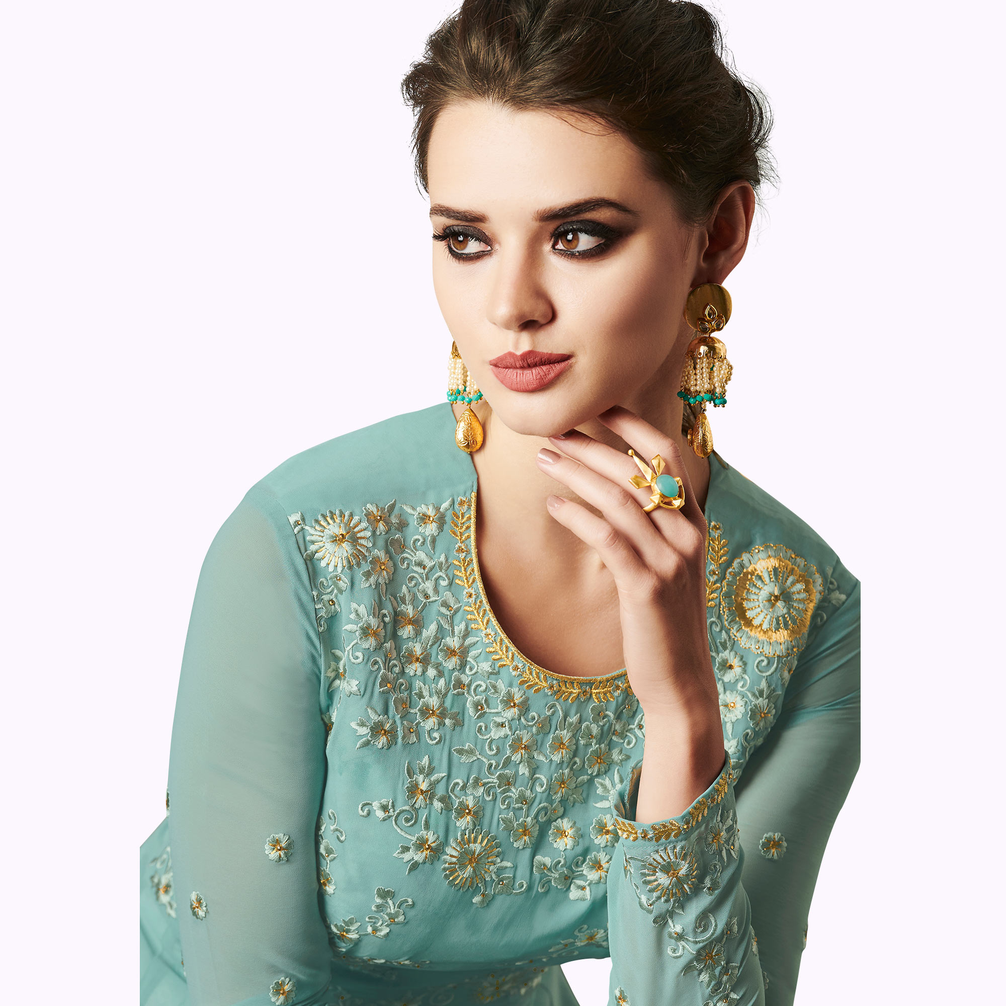 Excellent Pastel Blue Colored Partywear Embroidered Jacket Style Georgette Anarkali Suit