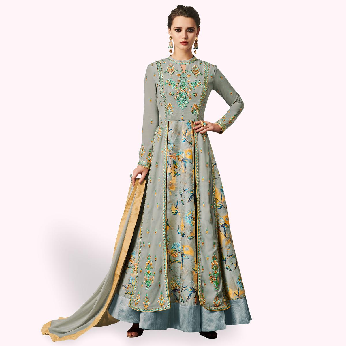 Preferable Gray Colored Partywear Embroidered Jacket Style Georgette Anarkali Suit