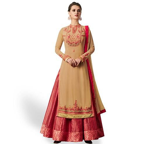 Marvellous Red-Light Brown Colored Partywear Embroidered Jacket Style Georgette Anarkali Suit