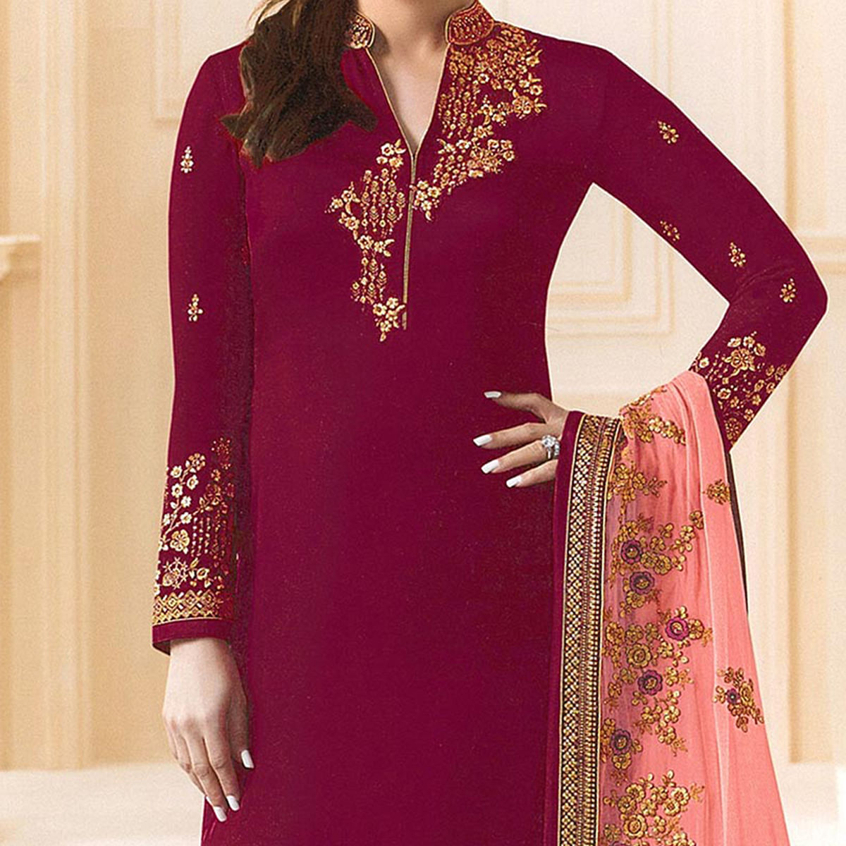 Maroon Designer Embroidered Faux Georgette Straight Suit