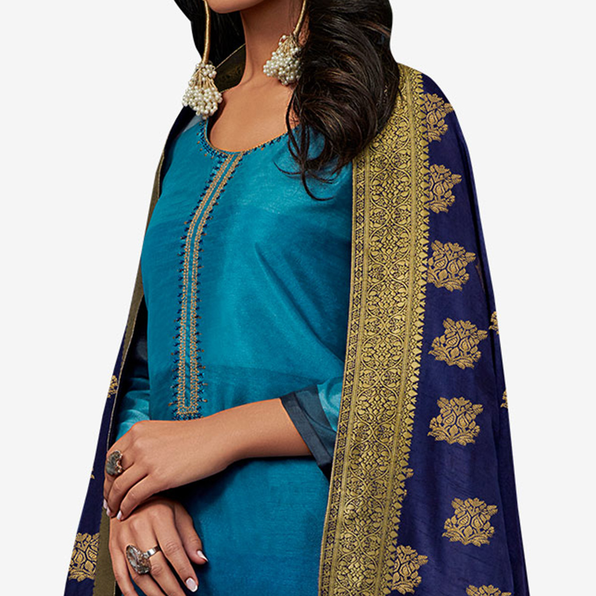 Adorable Blue Colored Partywear Embroidered Georgette Suit