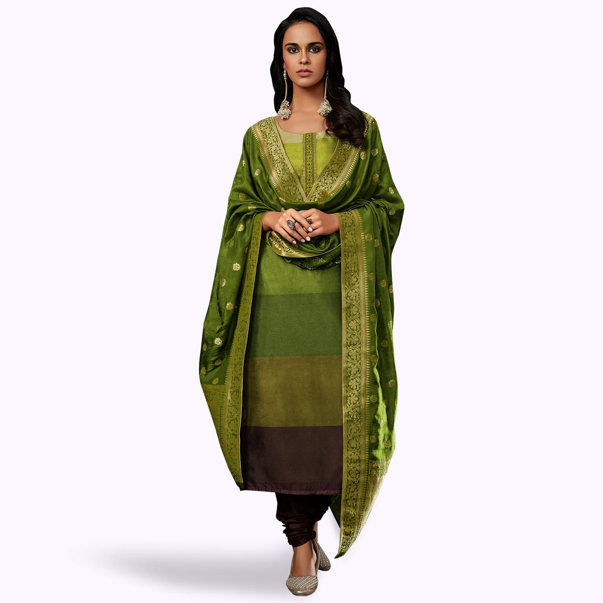 Glorious Green Colored Partywear Embroidered Georgette Suit