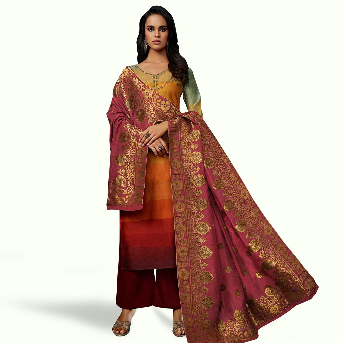 Attractive Orange-Red Colored Partywear Embroidered Georgette Suit