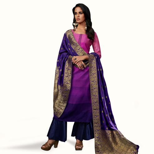Graceful Pink-Purple Colored Partywear Embroidered Georgette Suit