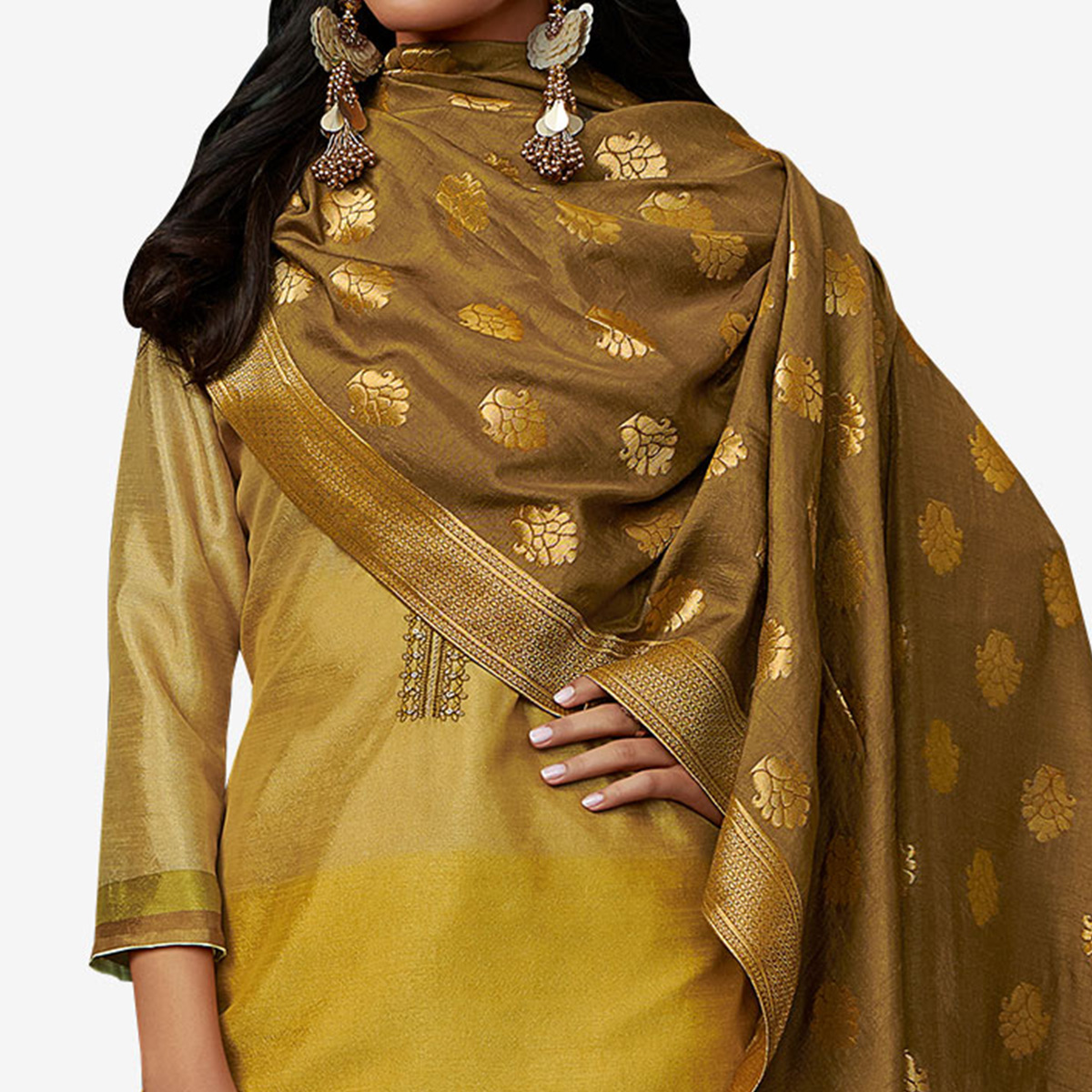 Blooming Golden-Mustard Yellow Colored Partywear Embroidered Georgette Suit
