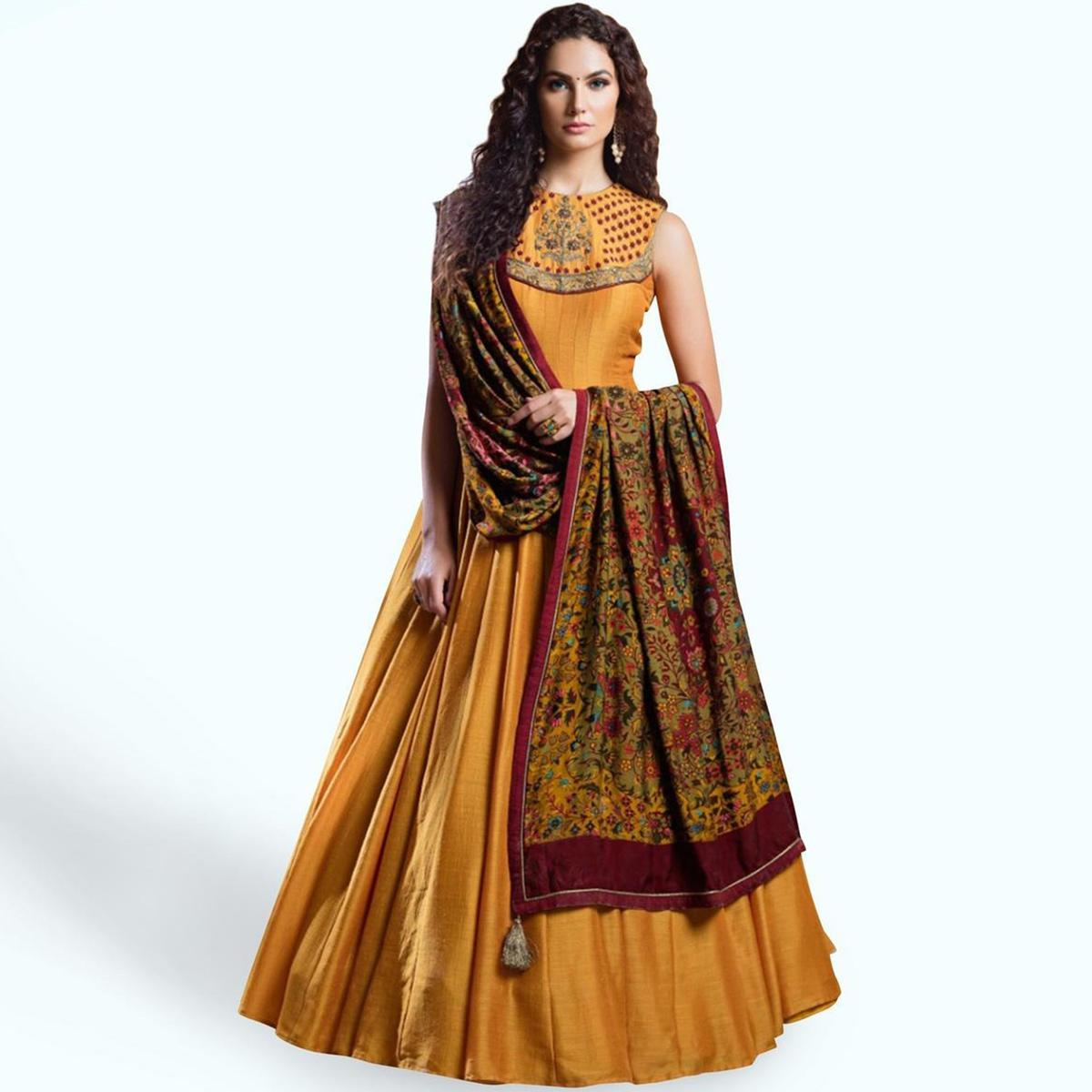 Amazing Mustard Yellow Colored Partywear Embroidered Banglori Silk Gown