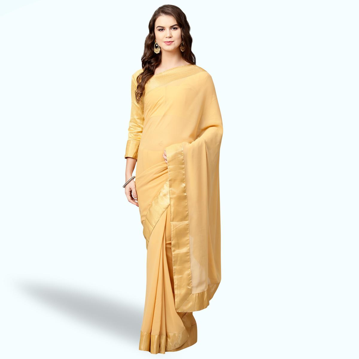 Adorable Yellow Colored Party Wear Georgette Saree