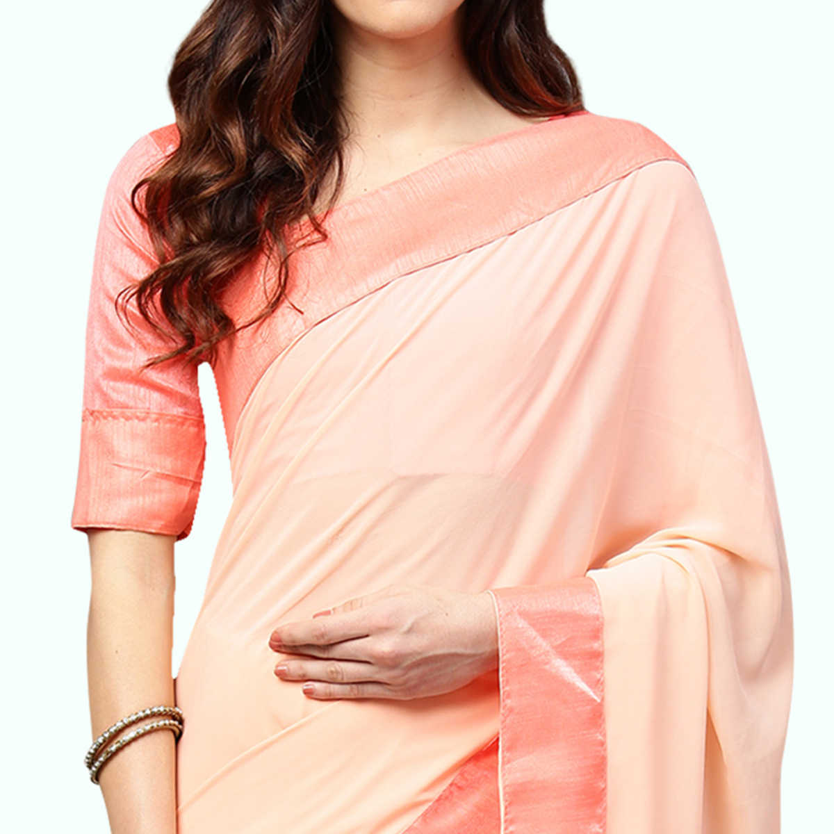 Glorious Pastel Pink Colored Party Wear Georgette Saree