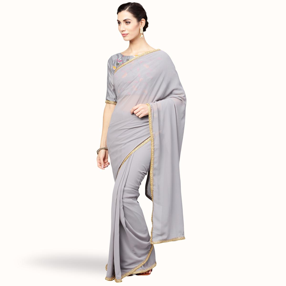 Attractive Gray Colored Party Wear Georgette Saree