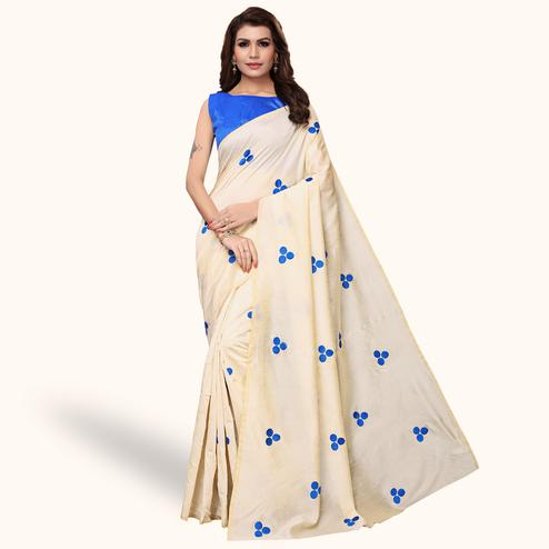 Beautiful Cream - Blue Colored Party Wear Embroidered Bhagalpuri Silk Saree