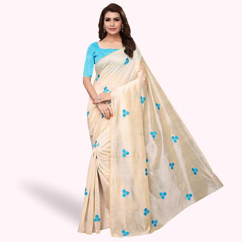 Graceful Cream - Sky Blue Colored Party Wear Embroidered Bhagalpuri Silk Saree