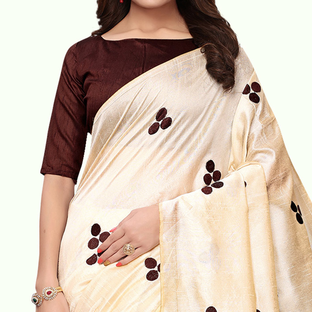 Blooming Cream - Brown Colored Party Wear Embroidered Bhagalpuri Silk Saree