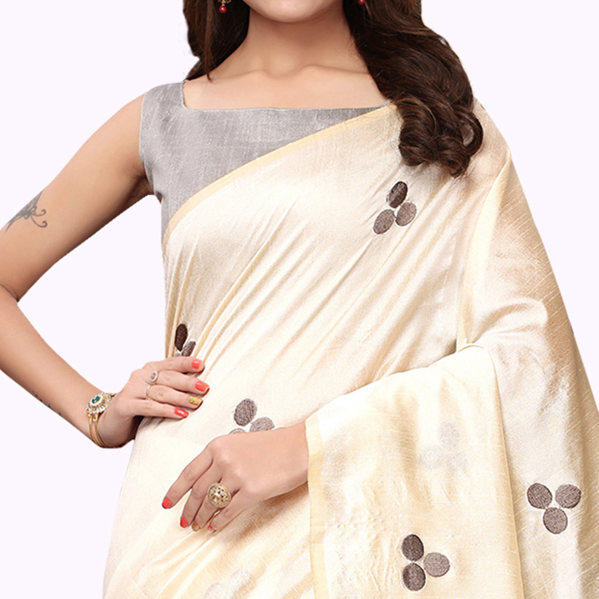 Charming Cream - Gray Colored Party Wear Embroidered Bhagalpuri Silk Saree