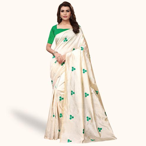 Jazzy Cream - Green Colored Party Wear Embroidered Bhagalpuri Silk Saree