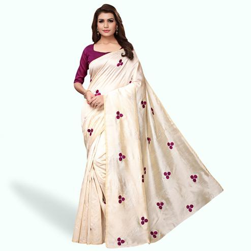 Delightful Cream - Wine Colored Party Wear Embroidered Bhagalpuri Silk Saree