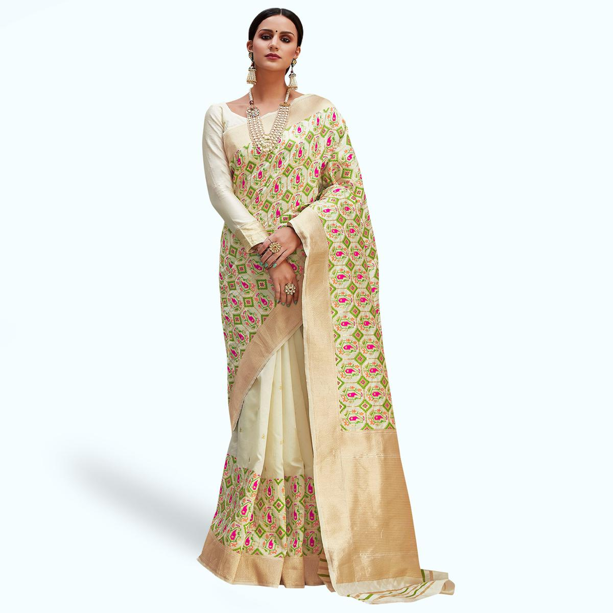 Engrossing Cream Colored Festive Wear Woven Silk Saree
