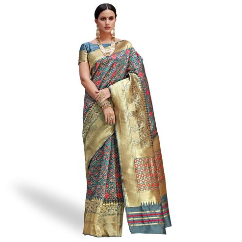 Innovative Gray Colored Festive Wear Woven Silk Saree