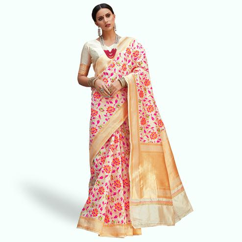 Eye-catching Cream Colored Festive Wear Woven Silk Saree