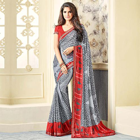 Gray Casual Printed Chiffon Saree